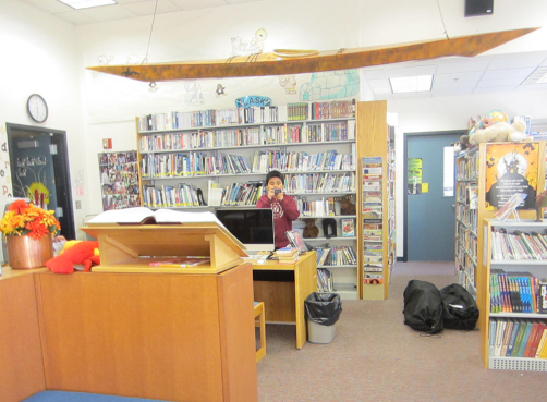 Practicing in the library - Wales, AK 2014